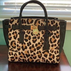 Michael Kors Hamilton leopard purse